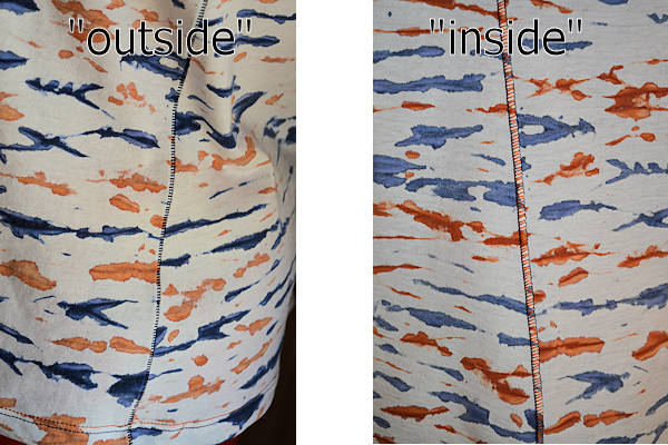 Close-up of flatlockedside seam showing colour differences