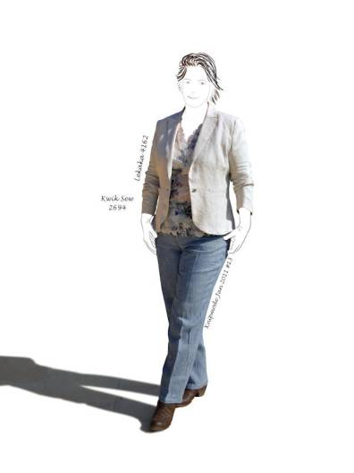 linen jacket, lace top, linen jeans