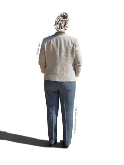 linen jacket, linen jeans from behind