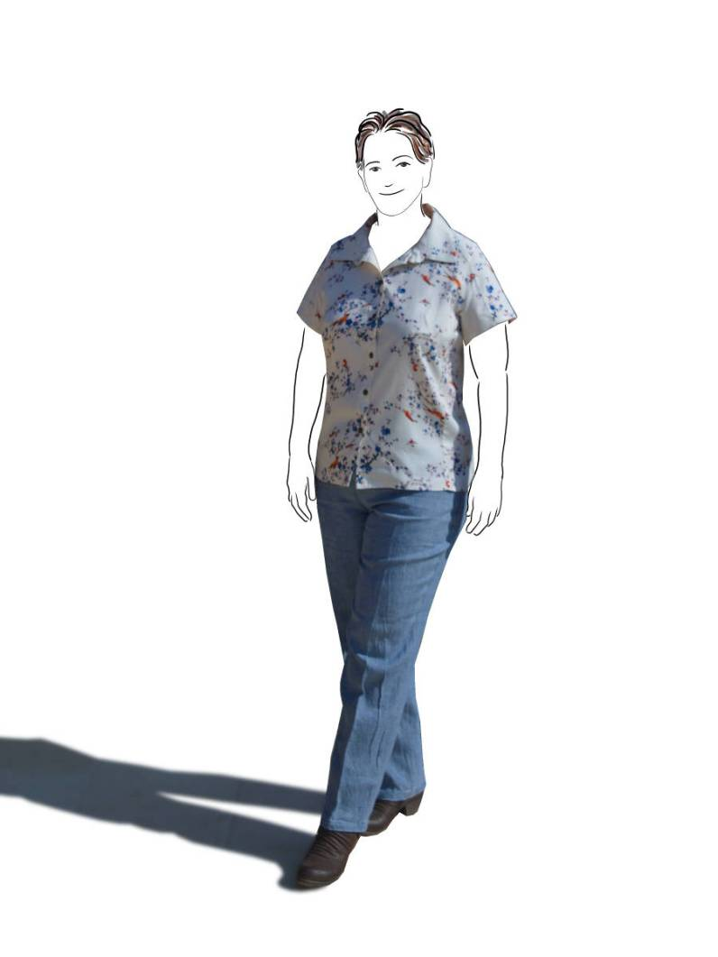 floral top with linen jeans