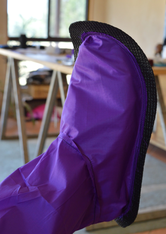test fit of the liner & sole.  Lining is stitched onto the sole to keep an even edge around the foot