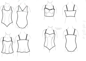 Variations on Merckwaerdigh STRAP4 (strapless bra). Check out the ruffled trim!