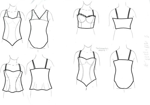 Variations on Merckwaerdigh STRAP4 (strapless bra). Check out the ruffled trim!