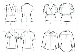 Various woven tops - wraps, tucks, pockets, collars
