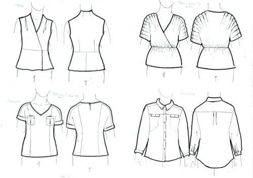 Various woven tops - wraps, tucks, pockets, collars