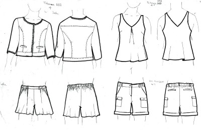 Denim jacket with trim; woven tank; elastic waist shorts
