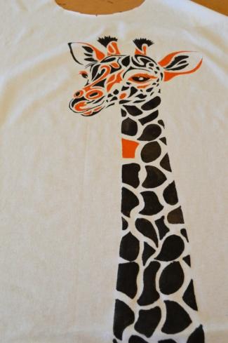 Giraffe stencil - second layer in orange
