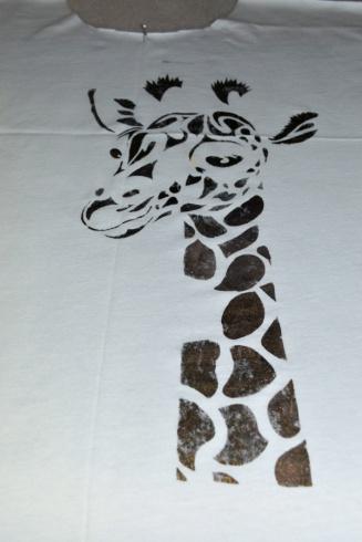 Giraffe stencil -first layer