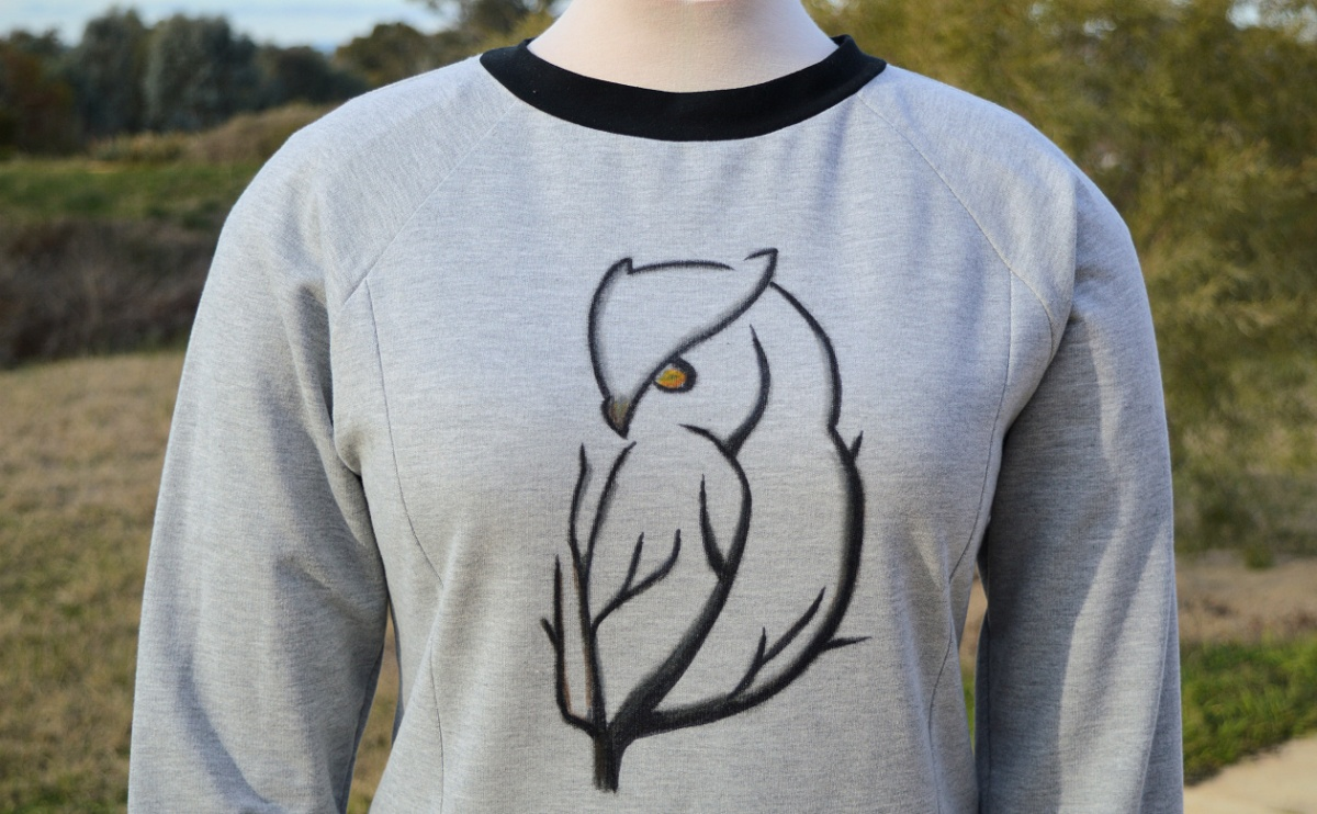 Owl sweatshirt and dress-form arms