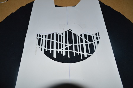 masking tape strips and stencil