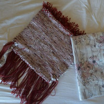 double weave rag woven bag - just off the loom. Main body woven in the round; base woven as two separate layers