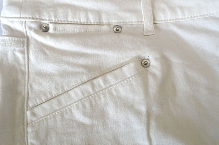 Cashmerette Ames off-white straight jeans - front pocket detail