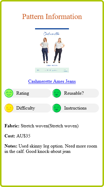 Black Skinny Jeans Report Card Pattern Info