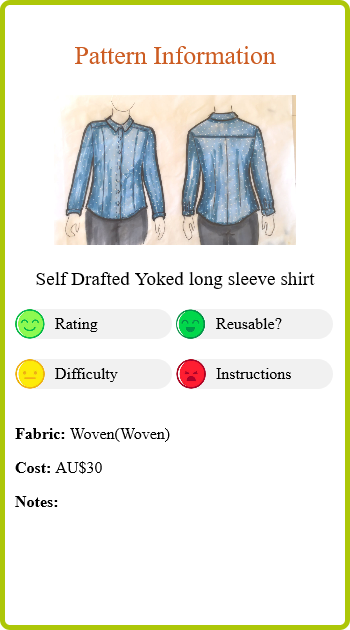 Denim tencel spot shirt Report Card Pattern Info