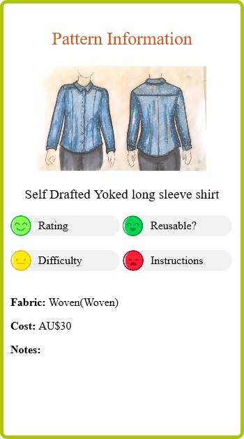 Denim tencel spot shirt Report Card Pattern Info