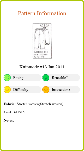 Olive Jeans Pattern Info