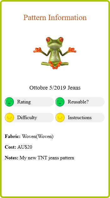 Straight Leg Jeans Report Card Pattern Info
